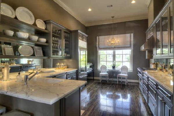 More Beautiful Gray Kitchens - Gray cabinets with marble countertops