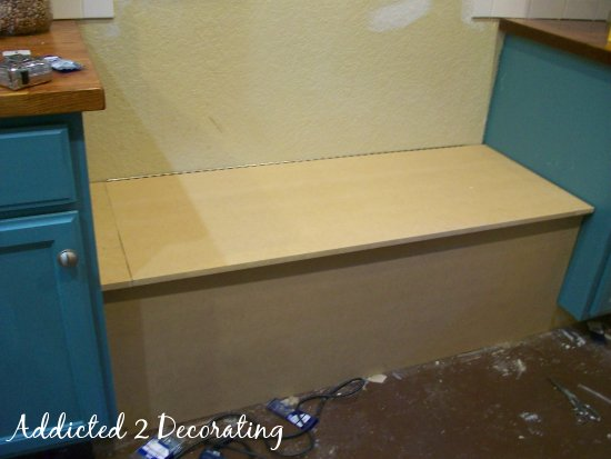 How to build a banquette seat with storage this gives you a better view of the seat in relation to the cabinets and the countertops you can see why i had to make the cuts in the top of the solutioingenieria