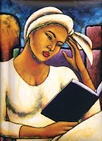 painting a a balck girl reading a book