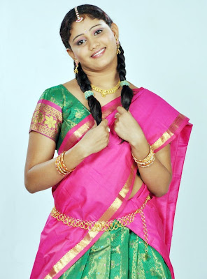 Amruthavalli Cute Stills in Half Saree navel show