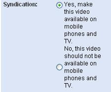 YouTube Syndication options