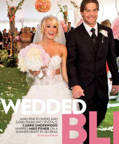 Chasing rainbows kissing frogs carrie underwood wedding carrie looks stunning in her chantilly lace and silk organza monique lhuillier gown wearing a 40 carat diamond tiara a gift from her husband junglespirit Image collections