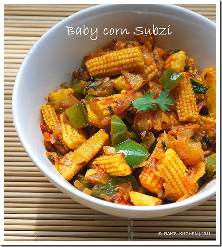 Baby corn subji