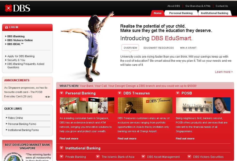 Screen shot of homepage of DBS.Com.Sg