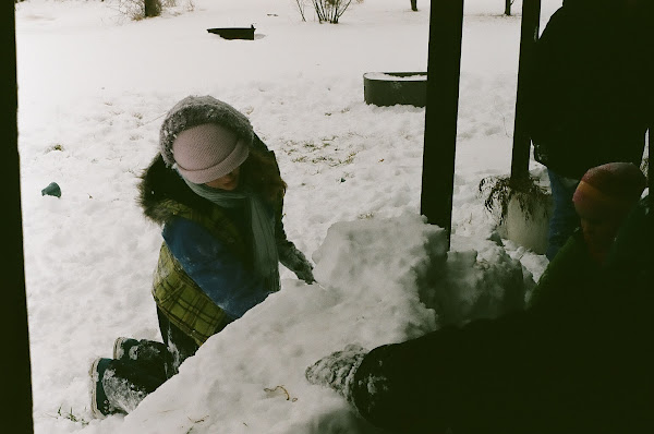 Building a snow fort!