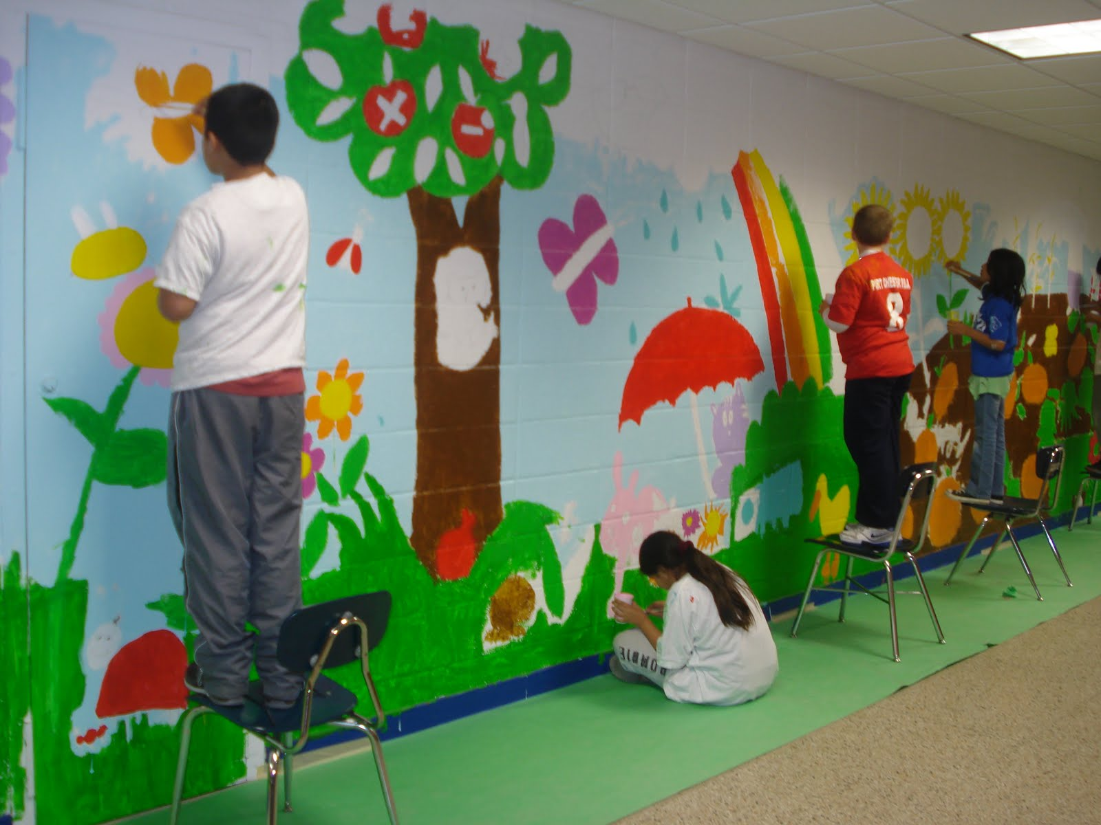 Terry taylor studio wall mural in progress for Children wall mural ideas