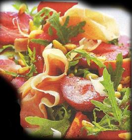Салат из рукколы и кедровых орешков и креветок