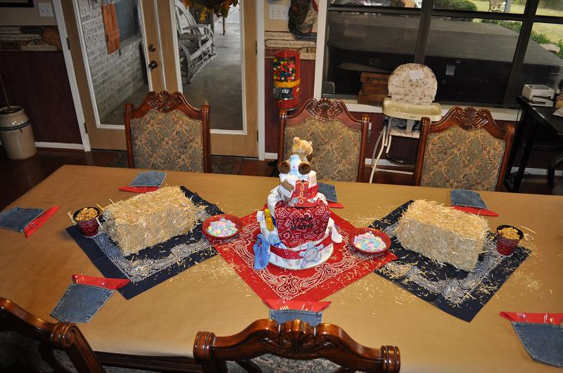 we used the diaper cake as the display on the main guest table