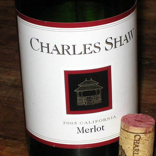 Charles Shaw merlot and cork