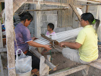 weaving khit in a rural Thai village