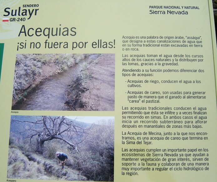 Sign along the Acequia de Mecina explains the importance of the canals with the exclamation ¡Si no fuera por ellas! - foto: casa rural El Paraje