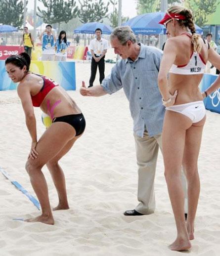 George Bush Slaps Misty May Treanor's Back