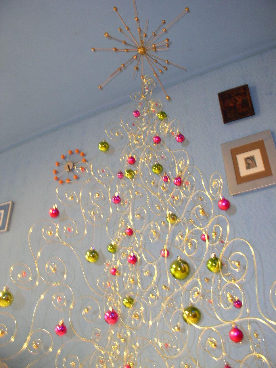 Mundos hechos a mano arbol de navidad y corona de - Arbol navidad casa ...