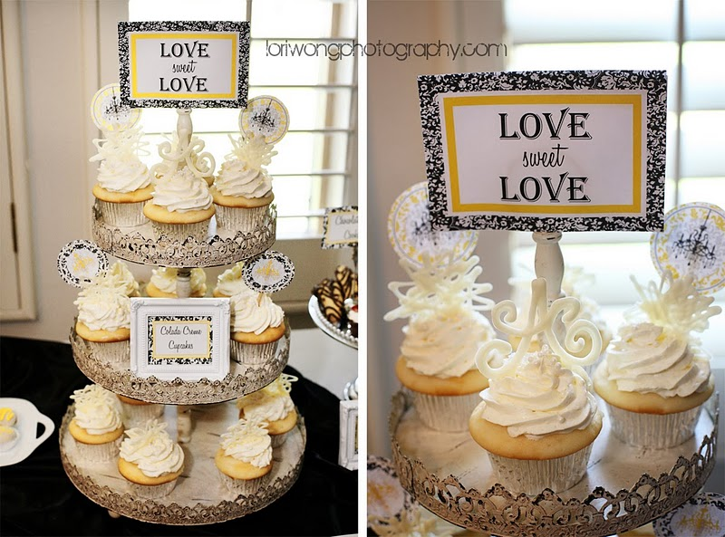 Yellow black and white damask themed candy buffet made for a sweet