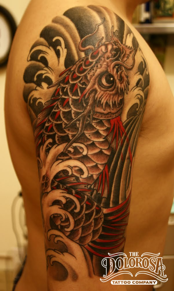 Dragon Carp tattoo Simple color scheme finished in about 15 hours