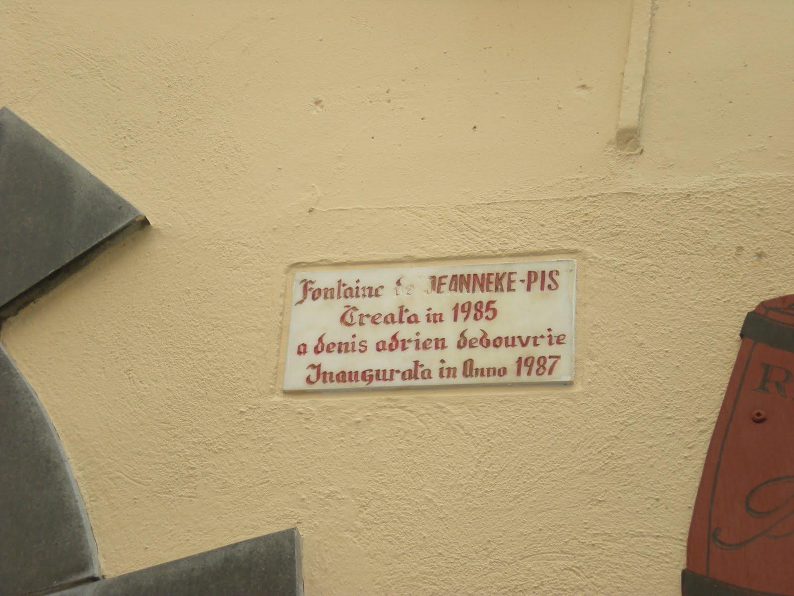 Placa conmemorativa de la colocación de Jeanneke