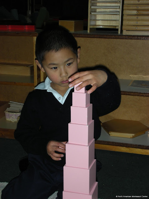 NAMC montessori education concrete to abstract boy pink tower