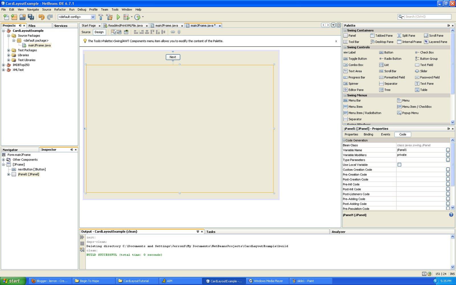 hello blog using cardlayout in netbeans