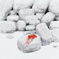 Sotiris Sorogas πέτρα με κόκκινο ύφασμα