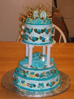 Teal blue and gold 50th wedding anniversary cake