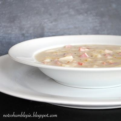... So Humble Pie: Potato Leek Soup with Pancetta & English Cheddar Puffs