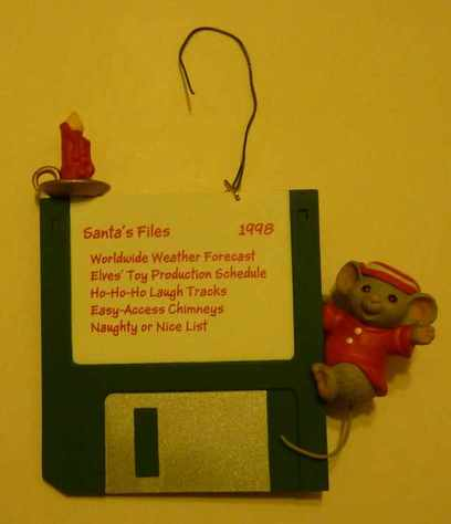 Santa floppy disk ornament