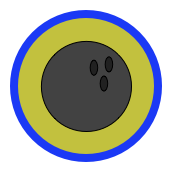 Badge with bowling ball