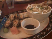 Tempura Salmon Roll and soup with chicken skewer