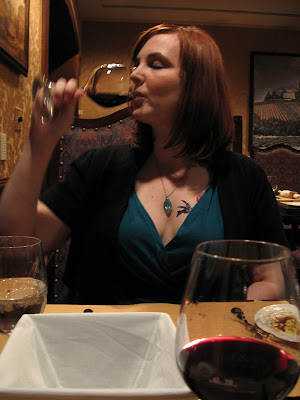dana enjoying the dregs of her cabernet