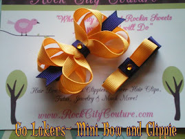 Lakers inspired Hair bow and clippie set