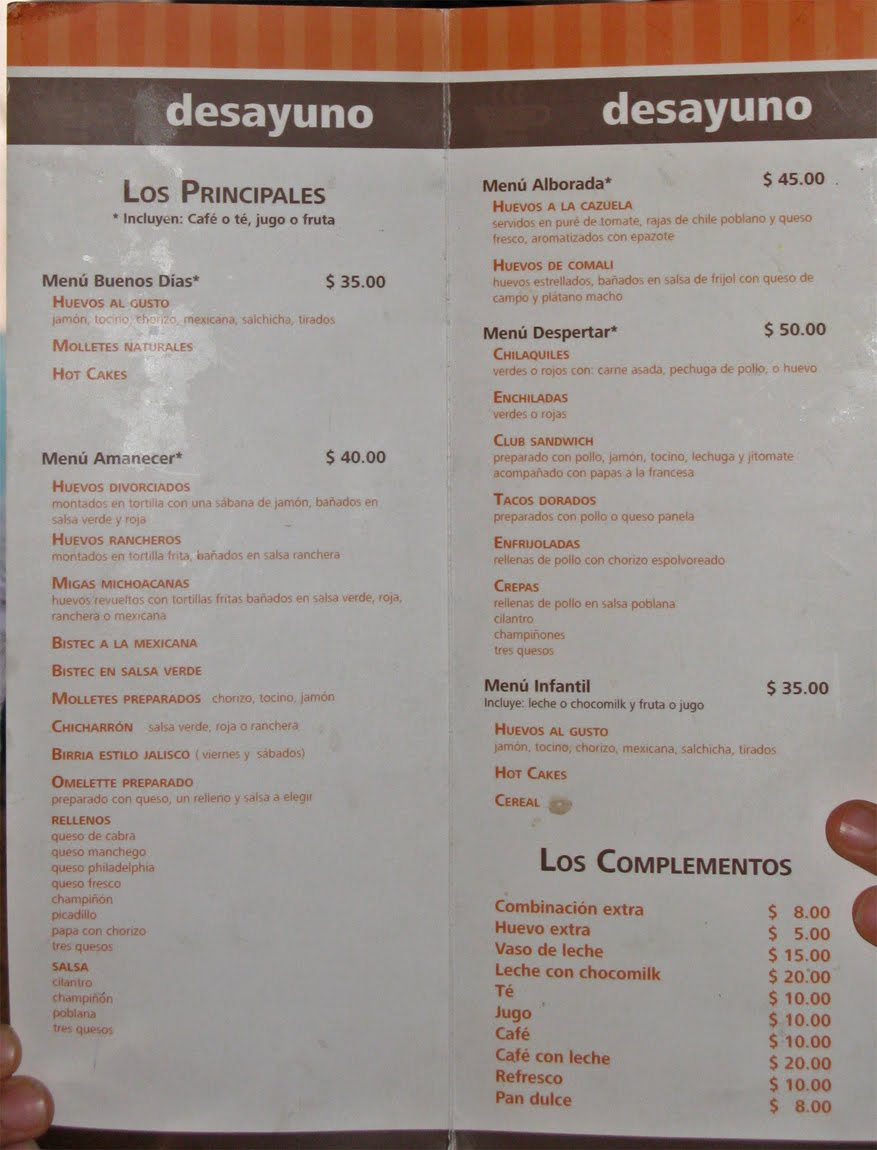 Las fonditas for Menu de sanborns