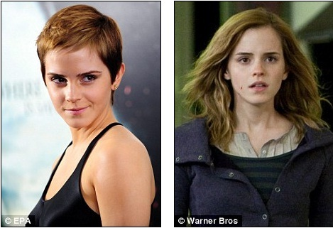 Now and then: Emma Watson will need to find a wig to re-shoot scenes for