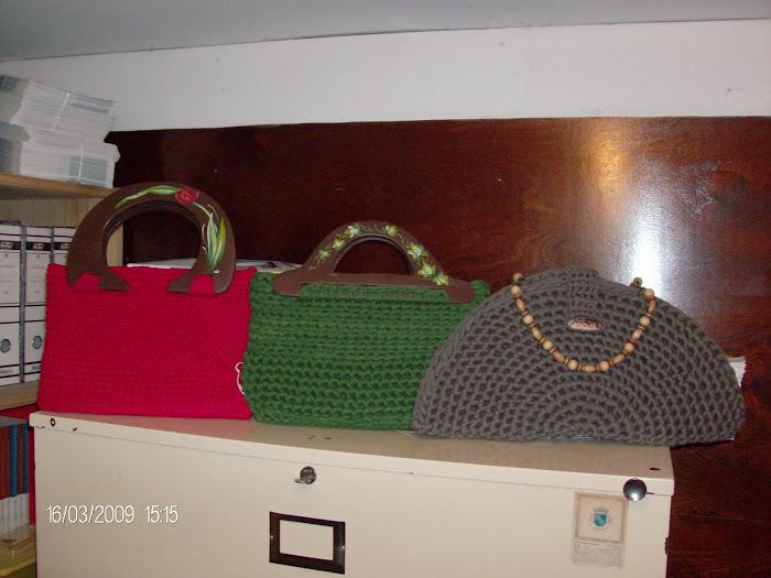 malas de trapilho c/alças pintadas a mão
