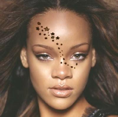 Here's an example picture of Rihanna's tattoo. star tattoo rihanna tattoo.