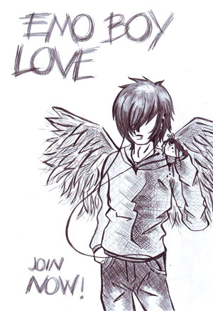anime emo love drawings