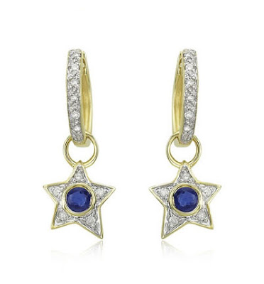 Blue Sapphire Star Earrings