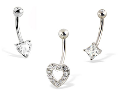 White Gold Belly Button Rings