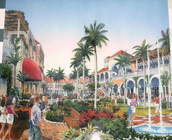 The Village at Gulfstream Park, artist depiction of central retail area