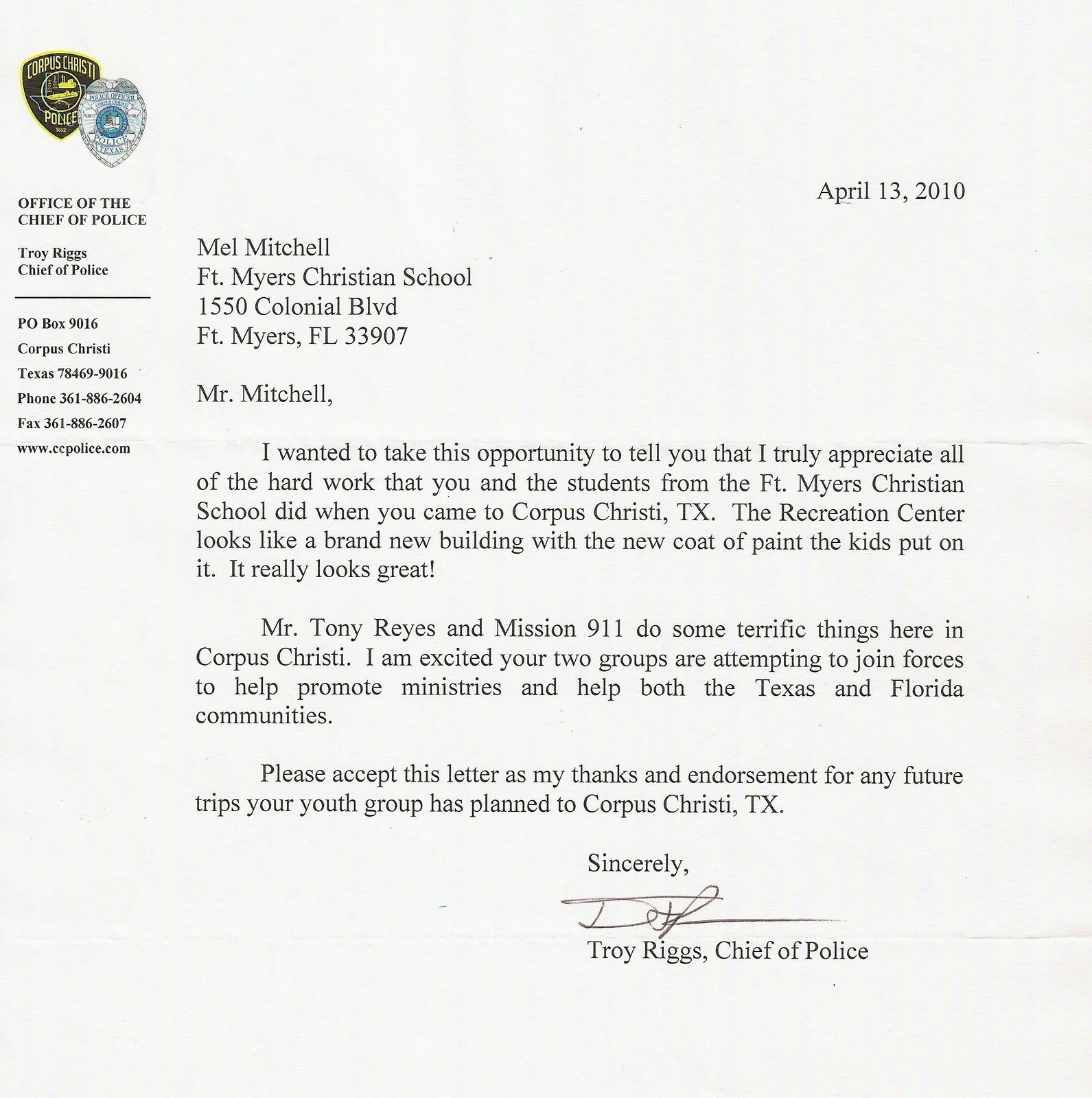 The principals blog fort myers christian school letter from the principals blog fort myers christian school letter from police chief in corpus christi altavistaventures Image collections