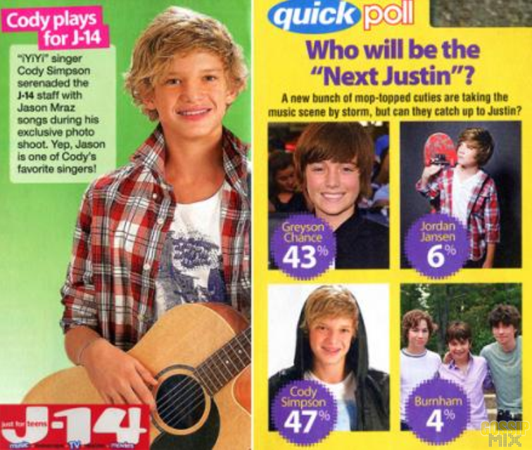 cody simpson and justin bieber. Cody Simpson will be next