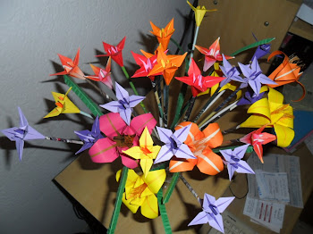 Detalhes das flores de origami