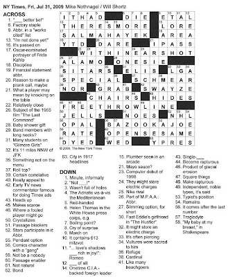 New York Daily News Crossword Puzzle Answers