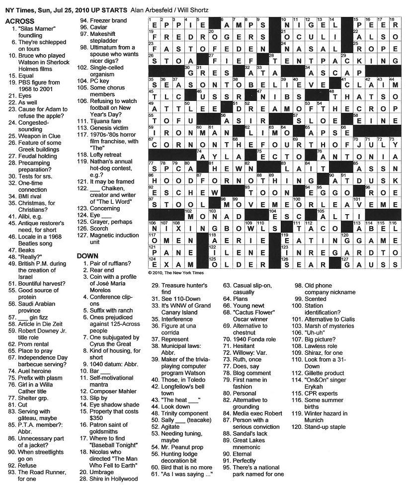 The New York Times Crossword in Gothic: July 2010