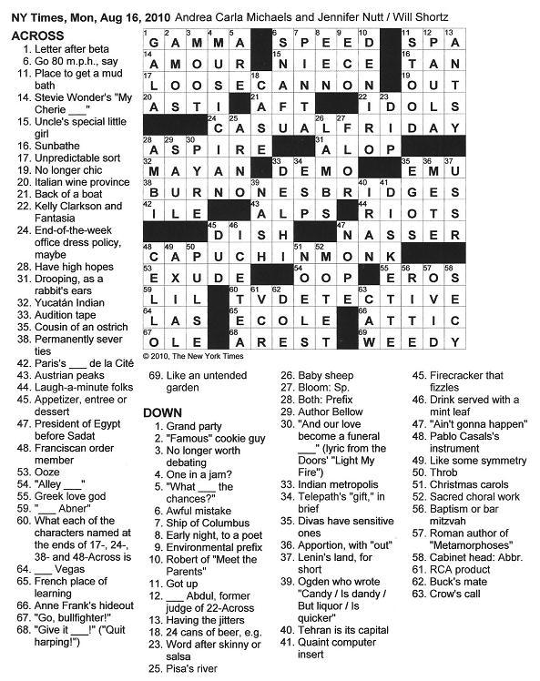 The New York Times Crossword In Gothic 08 16 10 Just The Facts