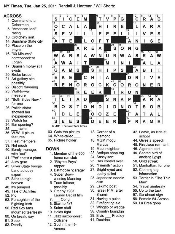The New York Times Crossword In Gothic 01 25 11 Palindromania Ii