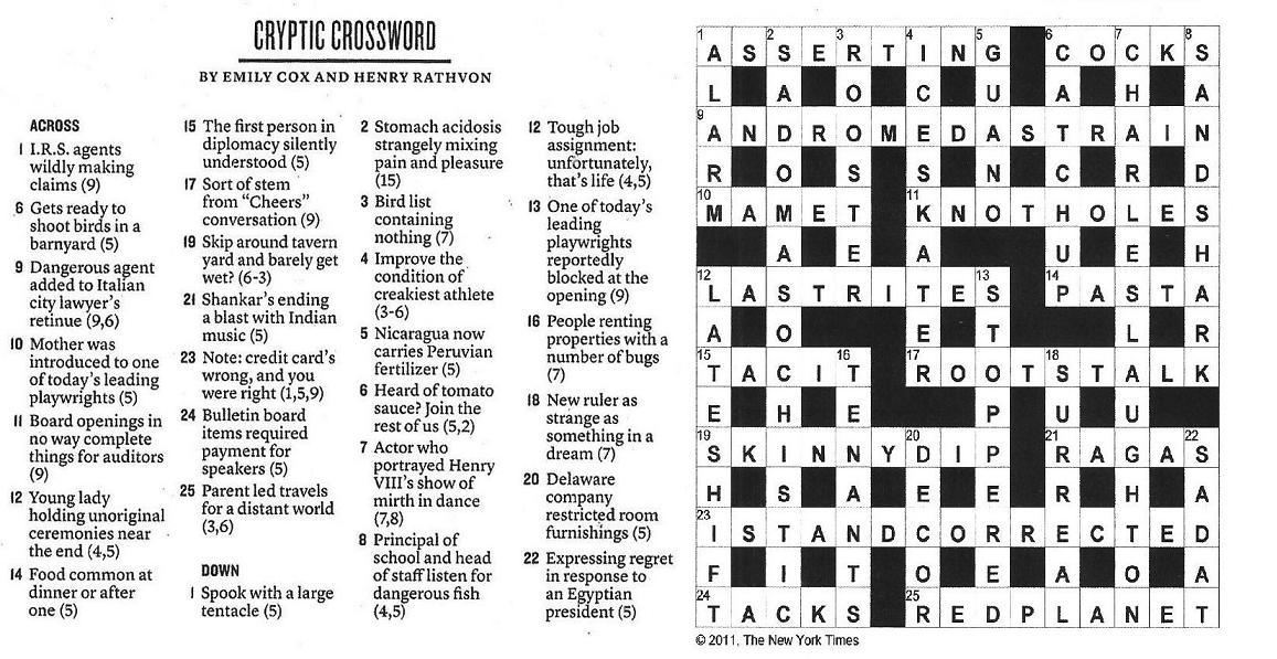 01.23.11 u2014 Cryptic Crossword  sc 1 st  The New York Times Crossword in Gothic & The New York Times Crossword in Gothic: January 2011 25forcollege.com