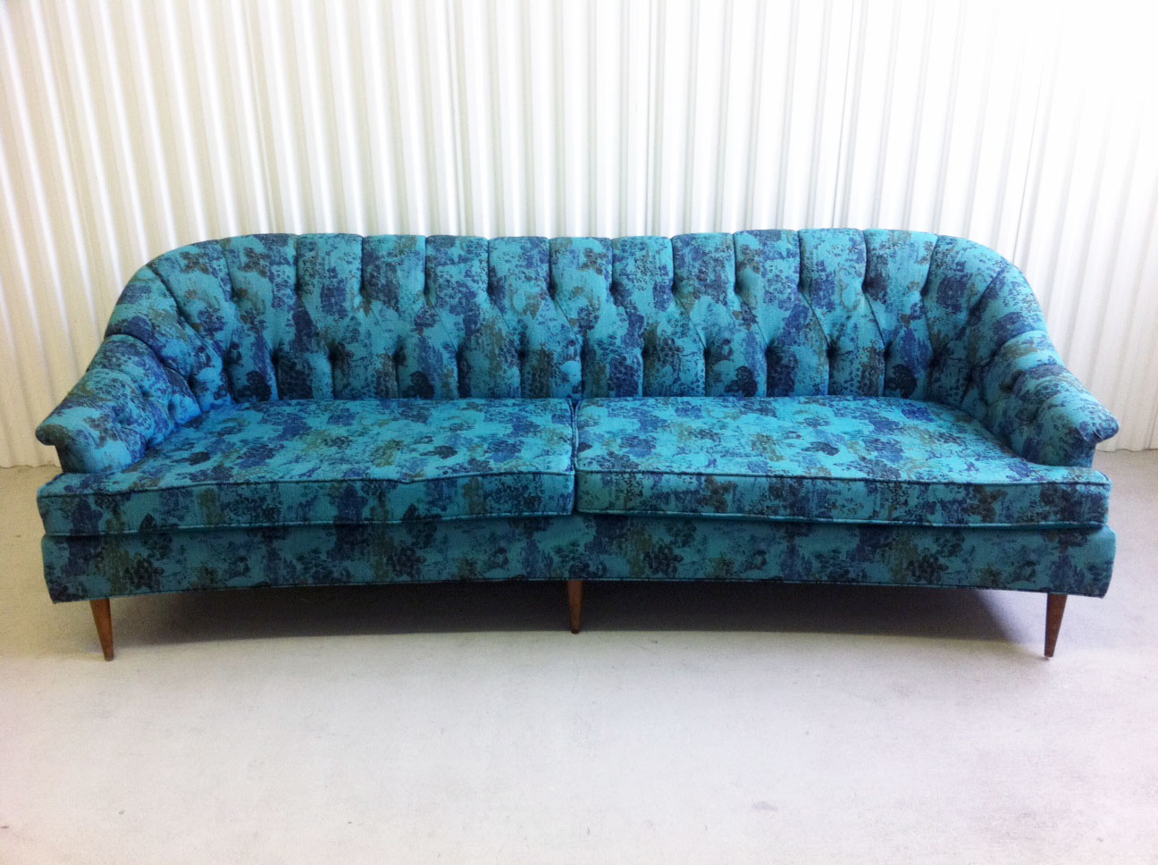 junk2funk mid century anthropologie style blue and green tufted sofa. Black Bedroom Furniture Sets. Home Design Ideas
