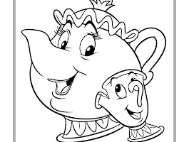 Mrs Potts And Chip Coloring Page