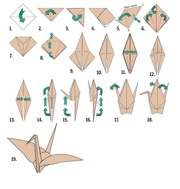 Ashel 39 s writing blog how to make an origami crane for How to fold a crane step by step