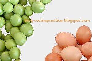Arvejas y Huevos, ingredientes básicos para hacer esta Receta de Cocina muy Fácil.